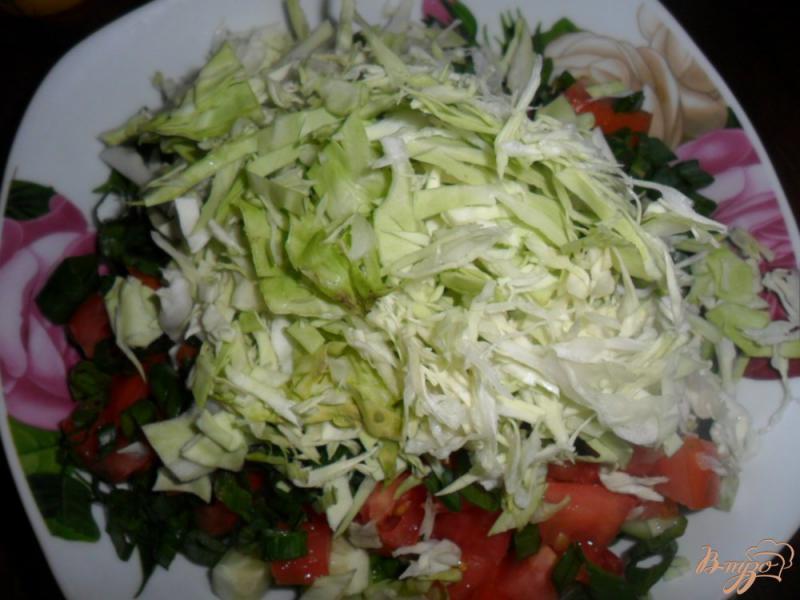 Фото приготовление рецепта: Салат с огурцов и помидоров Весна шаг №3