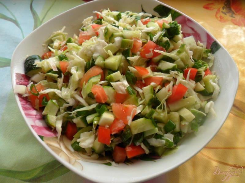 Фото приготовление рецепта: Салат с огурцов и помидоров Весна шаг №4