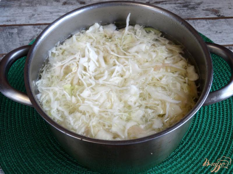 Фото приготовление рецепта: Щи с курицей и красной фасолью шаг №4