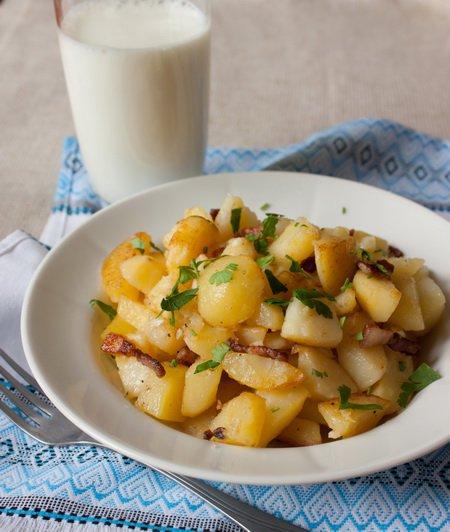 Рецепт Жареный картофель с беконом