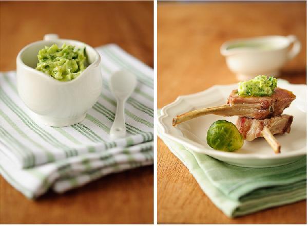 Каре ягненка с зеленым маслом