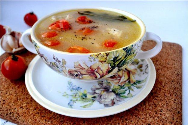 """Рецепт Суп с курицей,белой фасолью и помидорами """"черри"""""""