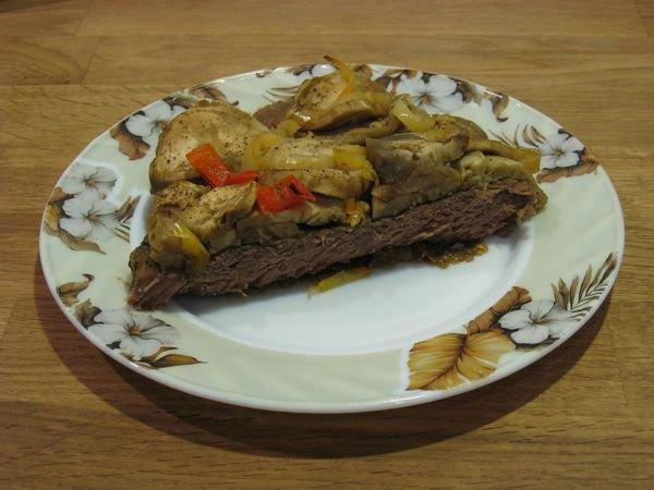 Рецепт Говядина, запеченная под баклажанами