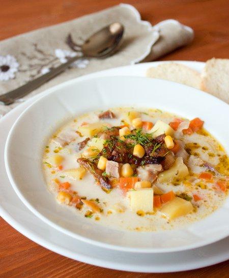 Рецепт Сливочный суп с копченой курицей