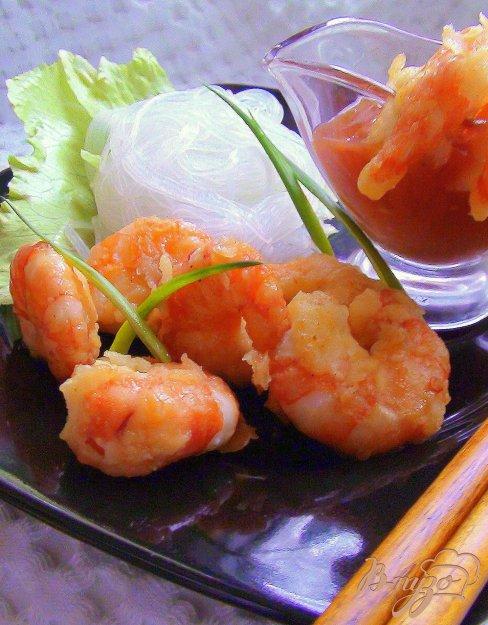 фото рецепта: Креветки в кисло-сладком соусе.