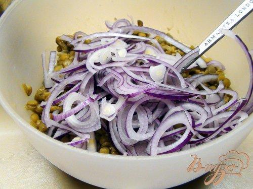 Тёплый салат с чечевицей и печёной рыбой под горчично-лимонной заправкой.