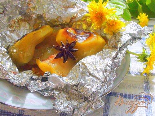 Яблоки в карамели. Десерт на углях.