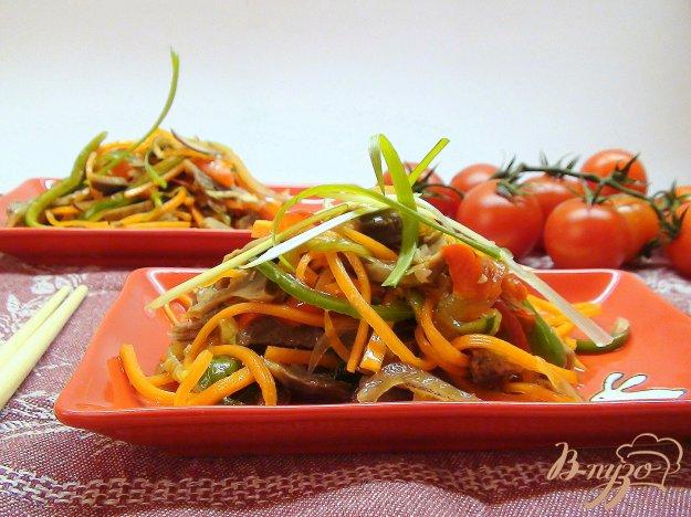 Рецепт Острый овощной салат с куриными желудками.