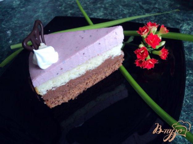 фото рецепта: Торт «Тримирье» с  черносмородиновым баваруа.