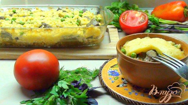 Рецепт Жаркое из говяжьей печени с грибами под сырным тестом.