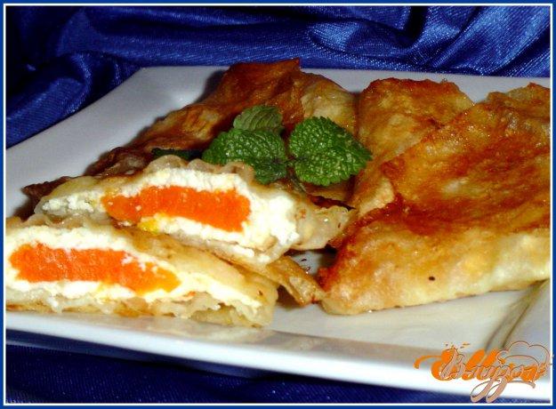 Рецепт Конвертики из лаваша с тыквенно-творожной начинкой