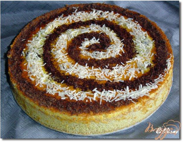 фото рецепта: Пирог с персиками и шоколадом