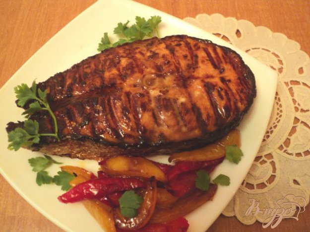 Рецепт Маринованная семга на гриле.