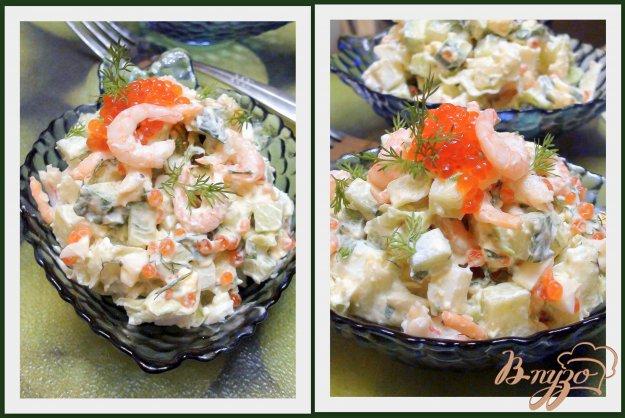 Рецепт Яичный салат с креветками.