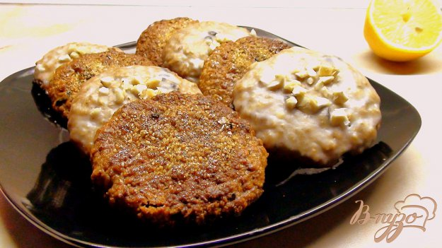 Рецепт Овсяное печенье в лимонной глазури и с карамельной корочкой. Постный вариант.