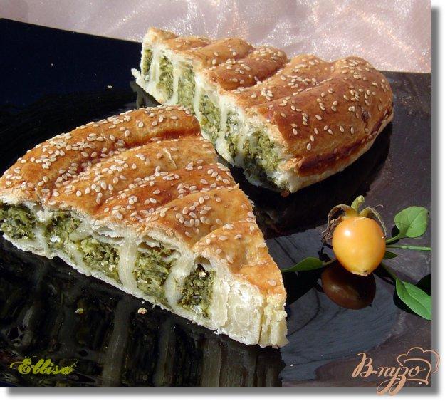 Рецепт Полезный пирог cо шпинатом, сыром и овсяными хлопьями