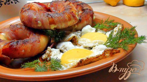 Баранки с сыром в беконе. Вариант сытного завтрака или закуски.