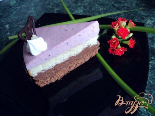 Торт «Тримирье» с  черносмородиновым баваруа.