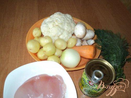 Суп из цветной капусты с шампиньонами.