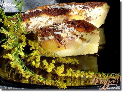 Пирог с персиками и шоколадом