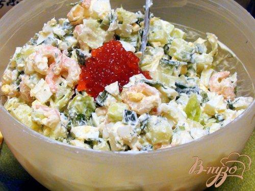 Яичный салат с креветками.
