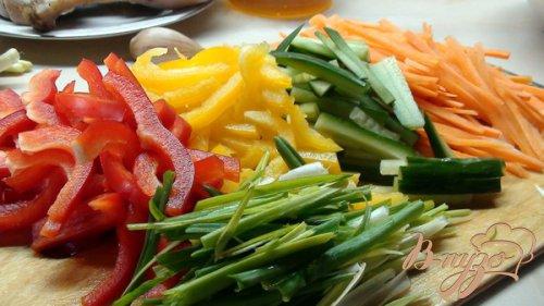 Утка с овощами, в азиатском стиле.