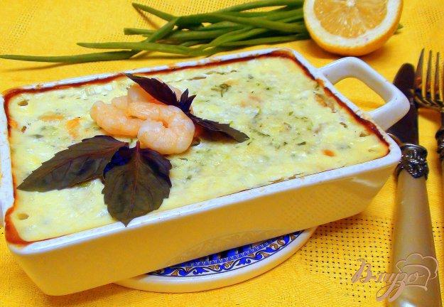 Рецепт Рыбная запеканка с креветками и зеленью.
