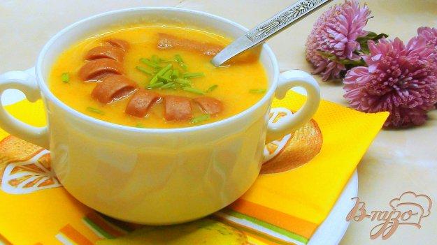 Рецепт Густой супчик с фасолью и печёными сосисками.