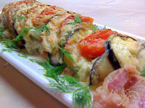 Рецепт Лёгкая овощная запеканка! 3 овоща + 2 сыра