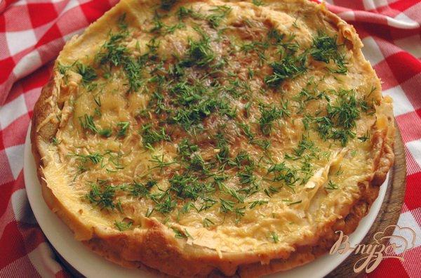 Рецепт Блинный пирог с куриным филе и грибами