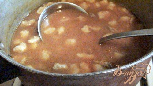Фасолевый суп с клёцками.