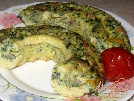 Рецепт Фриттата с грибами, шпинатом и сыром