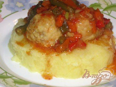 Рецепт Фрикадельки с овощами в кисло-сладком соусе