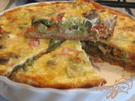 Рецепт Лоранский пирог с ветчиной, грибами и брокколи.