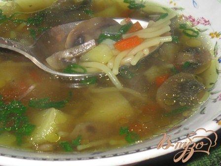 фото рецепта: Суп грибной с вермишелью