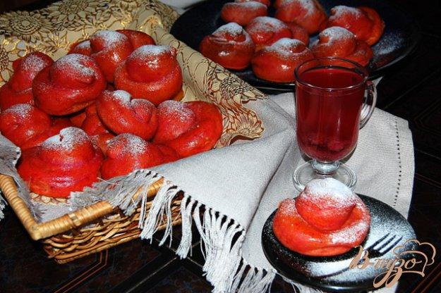 Рецепт Нежные розовые булочки с заварным кремом