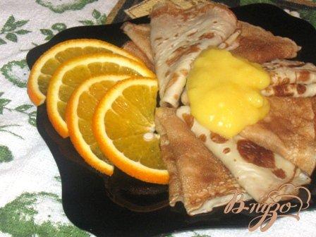 Рецепт Тоненькие блинчики с апельсиновым кремом