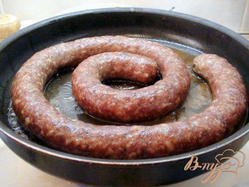Домашняя жареная колбаса.