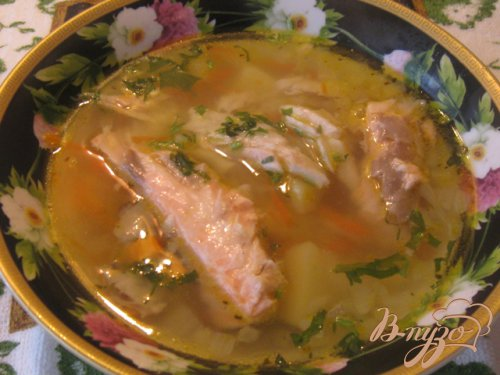 Суп рыбный с  семгой и толстолобиком