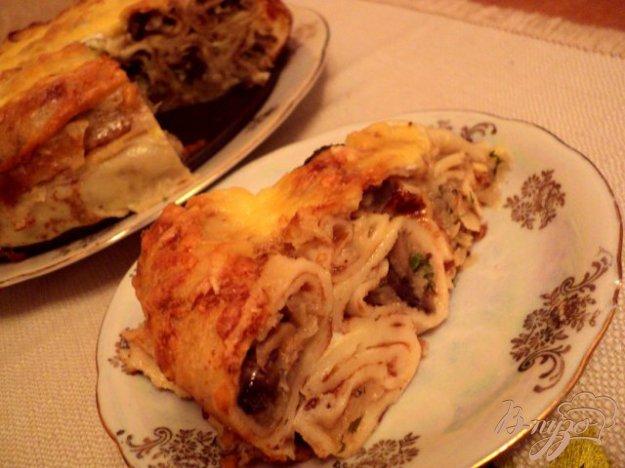 Рецепт Блинный пирог с грибами и капустой.