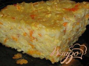 Рецепт Сладкая запеканка из лапши с морковью и яблоками