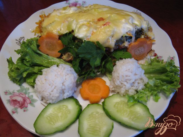 Рецепт Рыбка под овощной шубкой в омлете