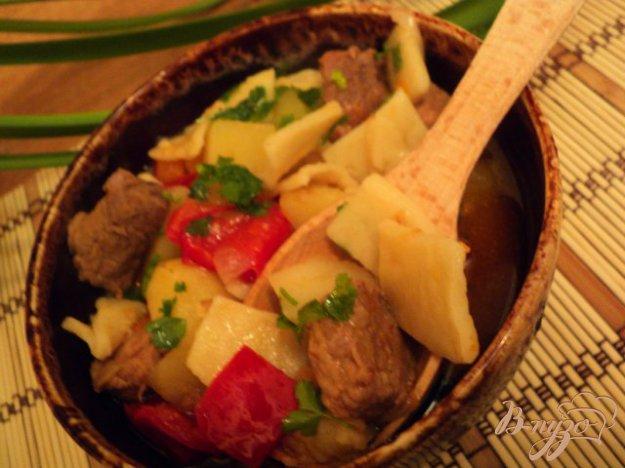Рецепт Душенина с овощами и галушками.
