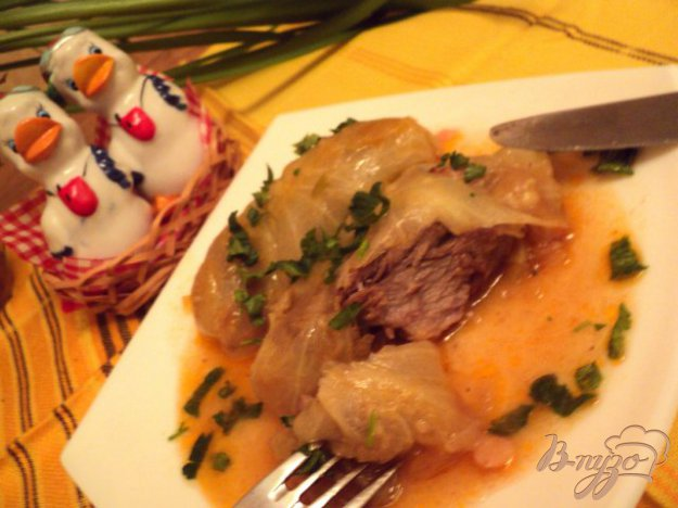 Рецепт Свиные ребрышки, тушенные в капусте.