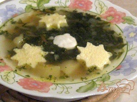 фото рецепта: Зеленый борщ с яичным суфле