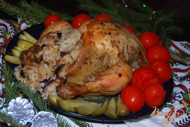 фото рецепта: Курица с сухофруктами в лимонно-медовой глазури