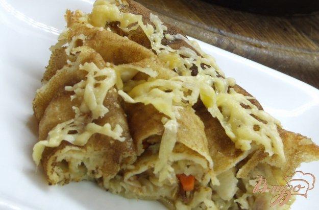 Рецепт Блинный пирог с курицей и луком