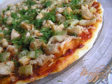 Рецепт Пицца с курицей и перцем в СВЧ