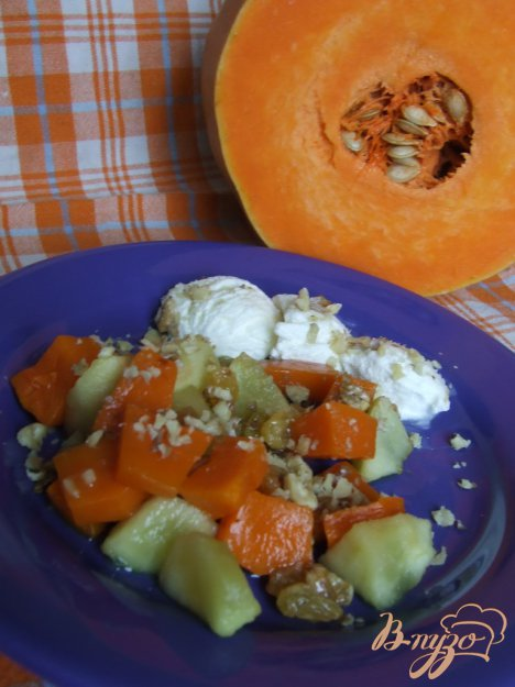 Рецепт Десерт с запечеными тыквой и яблоком