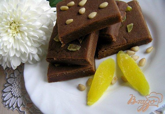 Рецепт Шортбред с мятным шоколадом, папайей и кедровыми орешками